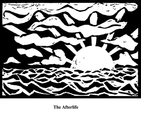 The Afterlife (2004). Block print. Appeared in Lorena Stookey (2004), 'Thematic Guide to World Mythology', Greenwood Press, Westport, Connecticut.