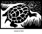 Animals in Myth (2004). Block print. Appeared in Lorena Stookey (2004), 'Thematic Guide to World Mythology', Greenwood Press, Westport, Connecticut.