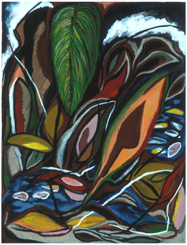 "Caño Negro (2005). 34"" x 24"". Oil stick on paper."