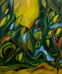 "Cascade Jungle (2007). 42"" x 36"". Oil on canvas."
