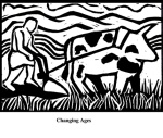 Changing Ages (2004). Block print. Appeared in Lorena Stookey (2004), 'Thematic Guide to World Mythology', Greenwood Press, Westport, Connecticut.