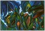 "Cloud Jungle (2005). 56"" x 81"". Oil stick on paper."