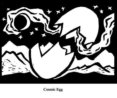 Cosmic Egg (2004). Block print. Appeared in Lorena Stookey (2004), 'Thematic Guide to World Mythology', Greenwood Press, Westport, Connecticut.