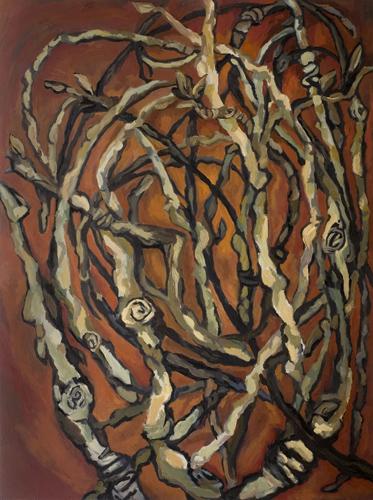 "Cottonwood Twigs (2007). 48"" x 36"". Oil on panel."