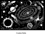 Creation Myths (2004). Block print. Appeared in Lorena Stookey (2004), 'Thematic Guide to World Mythology', Greenwood Press, Westport, Connecticut.