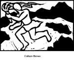 Culture Heroes (2004). Block print. Appeared in Lorena Stookey (2004), 'Thematic Guide to World Mythology', Greenwood Press, Westport, Connecticut.