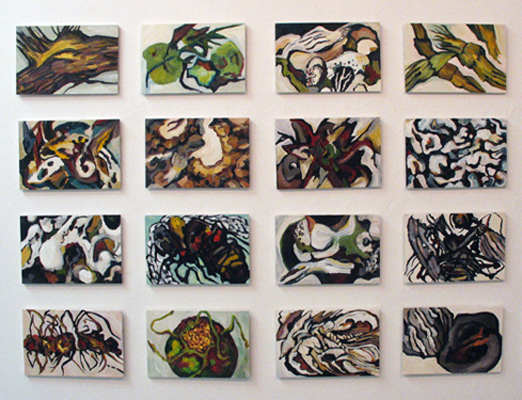 "Curiosities (2009): Part 1. 8"" x 12"" (each). Oil on panel."