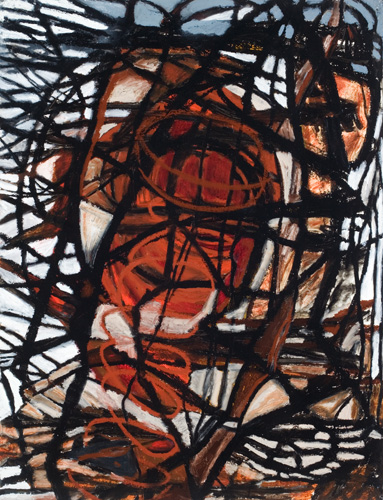 "Daemon (2008). 47"" x 36"". Oil stick on paper."