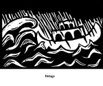 Deluge (2004). Block print. Appeared in Lorena Stookey (2004), 'Thematic Guide to World Mythology', Greenwood Press, Westport, Connecticut.