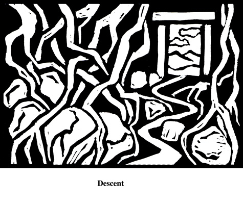 Descent (2004). Block print. Appeared in Lorena Stookey (2004), 'Thematic Guide to World Mythology', Greenwood Press, Westport, Connecticut.
