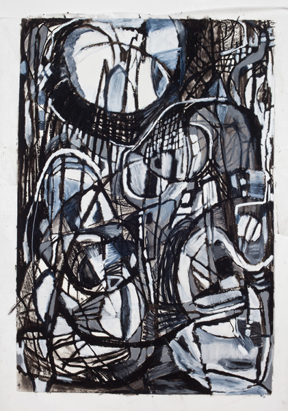 "Drawing (2012). 72"" x 48"". Oil stick and charcoal on paper."