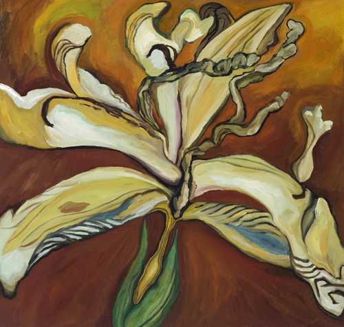 "Dried Iris (2007). 40"" x 42"". Oil on canvas."