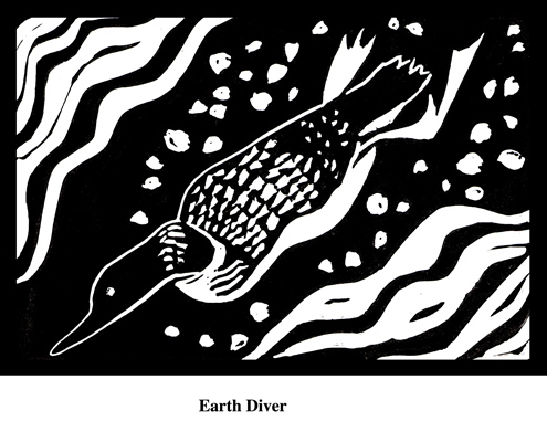 Earth Diver (2004). Block print. Appeared in Lorena Stookey (2004), 'Thematic Guide to World Mythology', Greenwood Press, Westport, Connecticut.