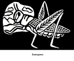 Emergence (2004). Block print. Appeared in Lorena Stookey (2004), 'Thematic Guide to World Mythology', Greenwood Press, Westport, Connecticut.
