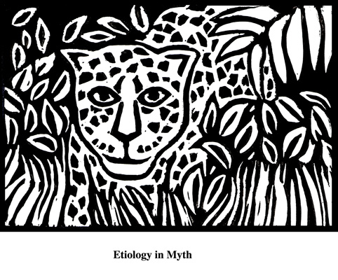 Etiology in Myth (2004). Block print. Appeared in Lorena Stookey (2004), 'Thematic Guide to World Mythology', Greenwood Press, Westport, Connecticut.