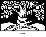 Fall (2004). Block print. Appeared in Lorena Stookey (2004), 'Thematic Guide to World Mythology', Greenwood Press, Westport, Connecticut.