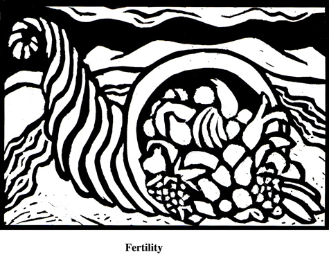 Fertility (2004). Block print. Appeared in Lorena Stookey (2004), 'Thematic Guide to World Mythology', Greenwood Press, Westport, Connecticut.