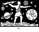 Gods (2004). Block print. Appeared in Lorena Stookey (2004), 'Thematic Guide to World Mythology', Greenwood Press, Westport, Connecticut.