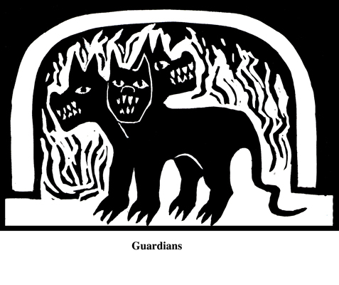 Guardians (2004). Block print. Appeared in Lorena Stookey (2004), 'Thematic Guide to World Mythology', Greenwood Press, Westport, Connecticut.