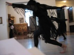 Performing a Loie Fuller dance at the Maryhill Museum, with Carol in the foreground (2008).