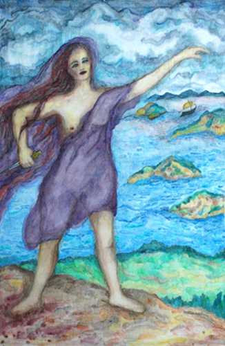 "Medea (2006). 100"" x 66"". Watercolor on fabric."