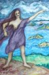 "Medea (2006). 100"" x 66"". Watercolor on fabric."