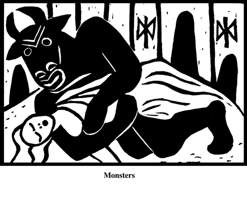 Monsters (2004). Block print. Appeared in Lorena Stookey (2004), 'Thematic Guide to World Mythology', Greenwood Press, Westport, Connecticut.