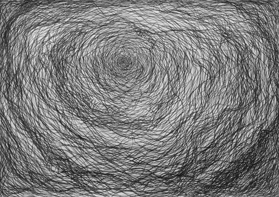 "Nest (drawing) (2009). 42"" x 60"". Pencil and China marker on paper."