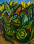 "Ode to Skunk Cabbage (2007). 44"" x 43"". Oil on canvas."