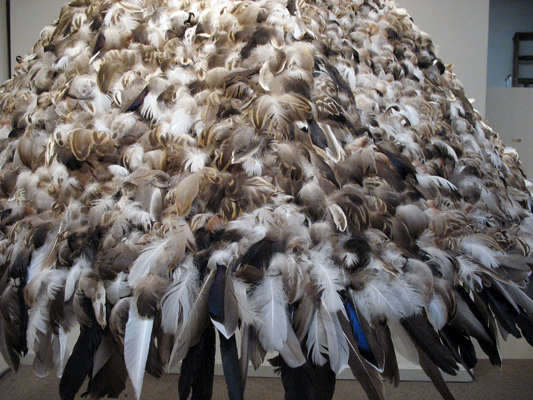 "Parachute (2008): detail. 52"" x 75"" x 75"". Feathers on buckram."