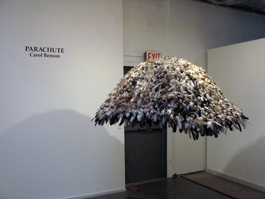 "Parachute (2008): Installation view. 52"" x 75"" x 75"". Feathers on buckram."