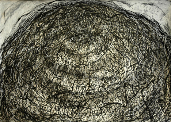 "Parachute (drawing) (2009). 42"" x 58"". Charcoal, oil stick, and China marker on paper."