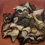 "Piece of Bark (2007). 48"" x 48"". Oil on panel."