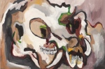 "Possum Skull 2 (2009). 16"" x 24"". Oil on panel."