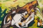 "Possum Skull 4 (2009). 16"" x 24"". Oil on panel."
