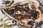 "Possum Skull 5 (2010). 16"" x 24"". Oil on panel."