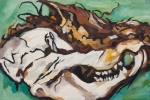 "Possum Skull 6 (2010). 16"" x 24"". Oil on panel."