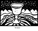 The Quest (2004). Block print. Appeared in Lorena Stookey (2004), 'Thematic Guide to World Mythology', Greenwood Press, Westport, Connecticut.