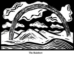 Rainbow (2004). Block print. Appeared in Lorena Stookey (2004), 'Thematic Guide to World Mythology', Greenwood Press, Westport, Connecticut.