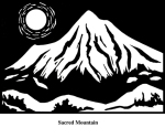 Sacred Mountain (2004). Block print. Appeared in Lorena Stookey (2004), 'Thematic Guide to World Mythology', Greenwood Press, Westport, Connecticut.