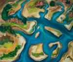 "Salmon River Estuary (2007). 52"" x 60"". Oil on canvas."