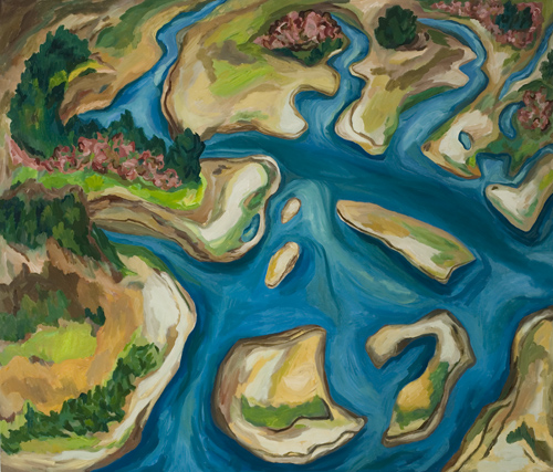 "Salmon River Estuary (2007). 52"" x 60"". Oil on canvas."