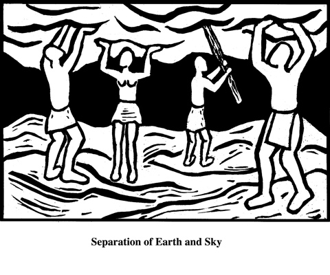 Separation of Earth and Sky (2004). Block print. Appeared in Lorena Stookey (2004), 'Thematic Guide to World Mythology', Greenwood Press, Westport, Connecticut.