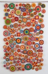 """Sewing Circles (2013): Side 1. 84"""" x 54"""". Oil on canvas with copper wire."""