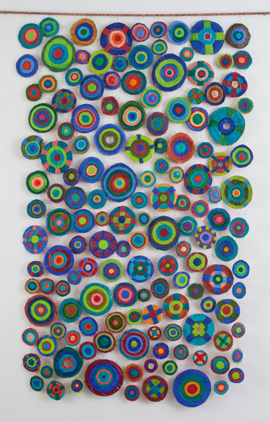 "Sewing Circles (2013): Side 2. 84"" x 54"". Oil on canvas with copper wire."
