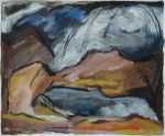 "Storm at Hart Mountain (2004). 11"" x 14"". Oil stick and charcoal on paper."