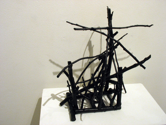 Structure 2 (2013). Sticks, wire, acrylic paint.