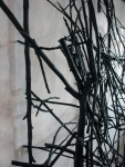 Styx (2011): Detail 2. Sticks, wire, acrylic paint.