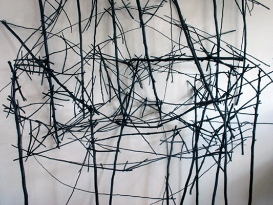 Styx (2011): studio view. Sticks, wire, acrylic paint.