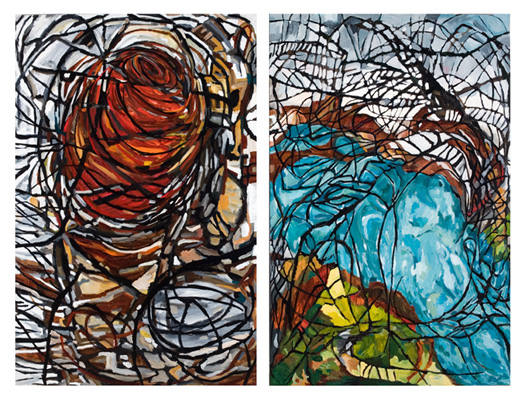 "The Internet is The Devil (2009). Diptych: 72"" x 96"". Oil on canvas."